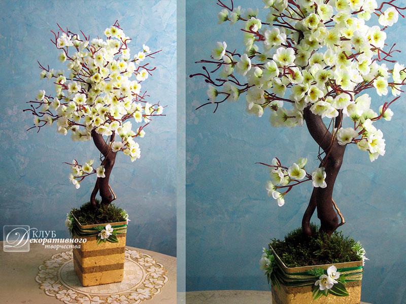 Как своими руками сделать дерево с цветами из 762