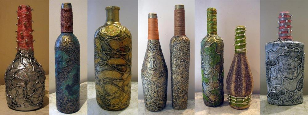 Декоративные бутылок своими руками 17