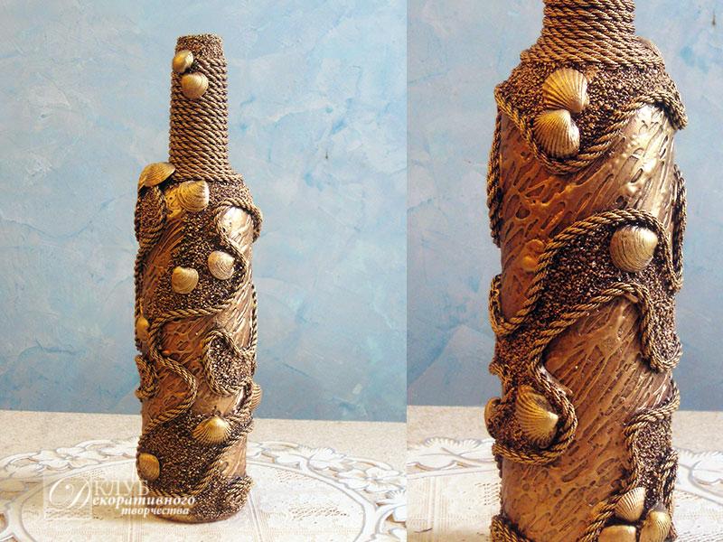 Как украсить бутылку ракушками своими руками 98